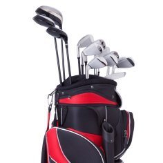 Red and black golf bag.