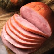 A ham sliced into slices.