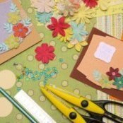 Various scrapbook supplies.