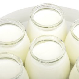 Homemade yogurt in jars.