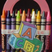 Back of crayon coverd wooden basket