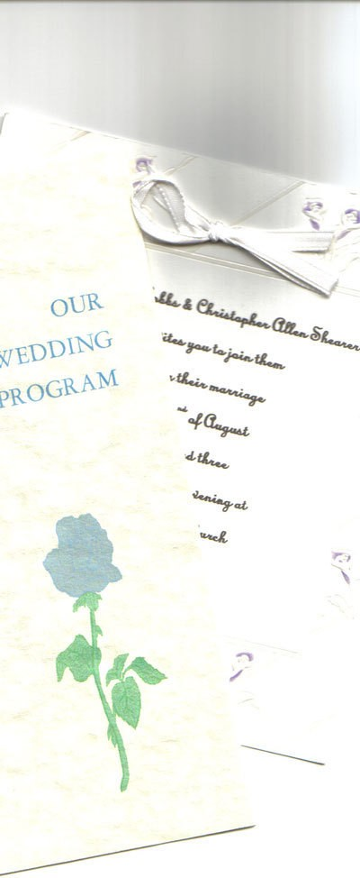 Photo of a homemade wedding invitations.