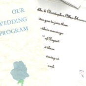 Photo of a homemade wedding invitations.
