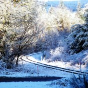 Snowy Railroad Tracks Winding Through Woods