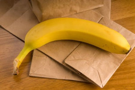 Photo of two bananas and a brown paper bags.
