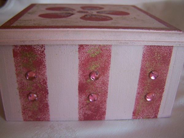 Side of Candy-Striped Trinket Box