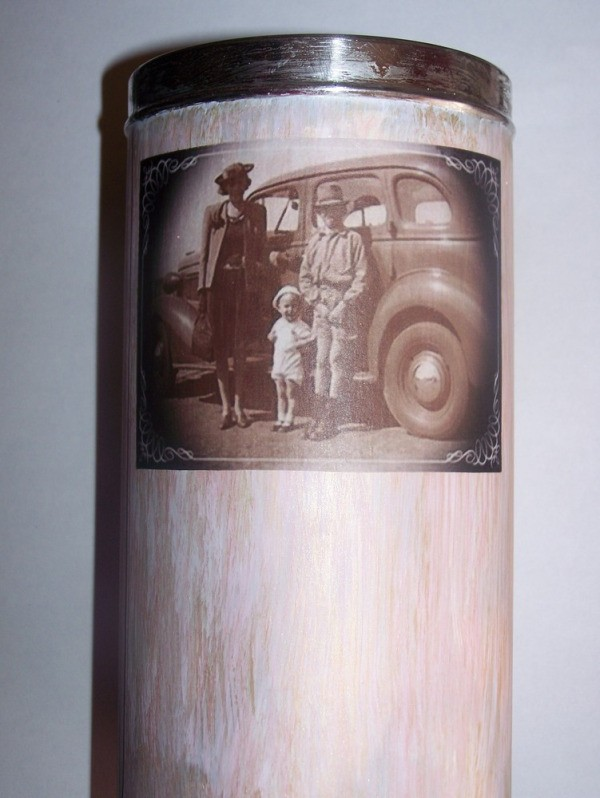 Glued photo on tin