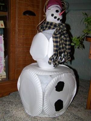 Paper plate snowman.