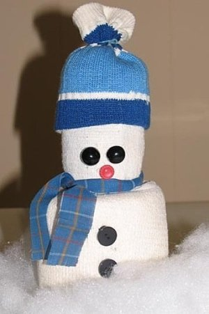 Snowman made from a sock.