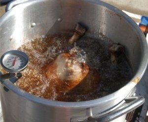 Large Turkey in Deep Fryer