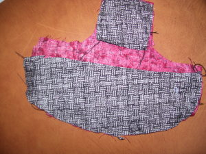 Back side of soap bottle apron