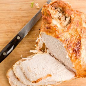 A carved turkey breast.