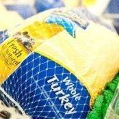 Frozen turkey in packaging.