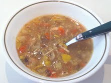 A bowl of homemade chicken soup.