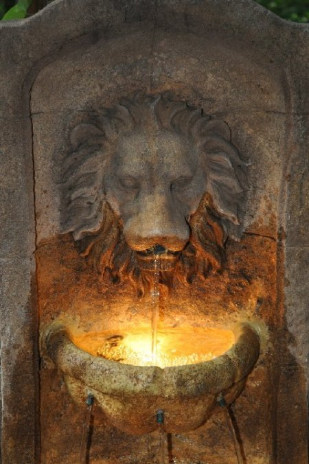 Closeup of Lighted Lion Fountain