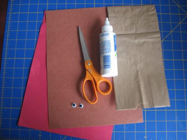 Supplies for Reindeer Puppet Craft