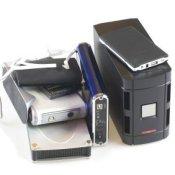 A group of external hard drives.