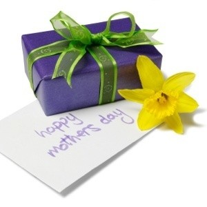 Photo of a wrapped gift for Mother's Day.