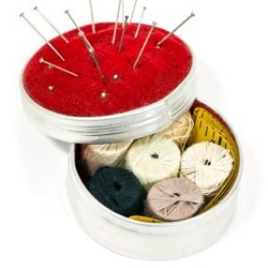 A homemade sewing kit.
