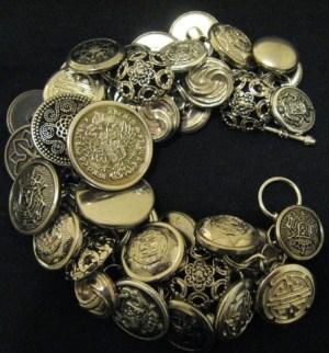 Brass button bracelet.