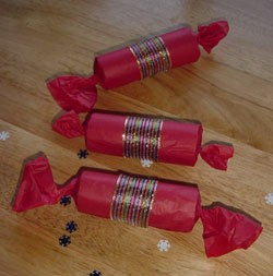 Photo of homemade holiday crackers.