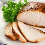 A cooked turkey breast.
