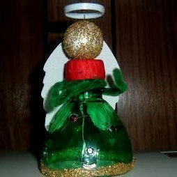 Angel made from a recycled green pop bottle.