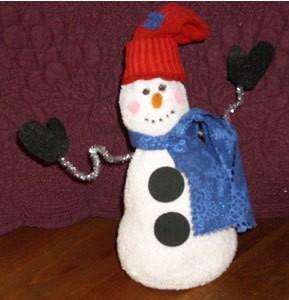 Snowman made form a tube sock.