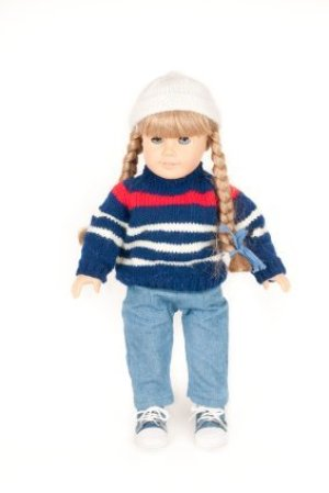 American Girl Doll With White Hat, Braids and Sweater