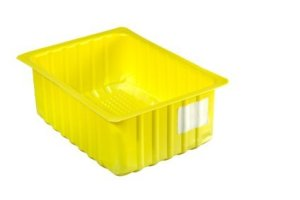 Yellow Plastic Container on White Background