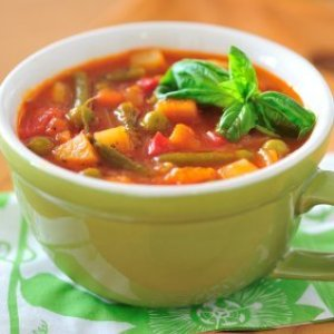 A cup of hearty minestrone soup.