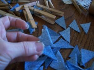 Folded triangle shaped piece of denim