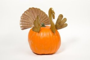 Homemade Thanksgiving Pumpkin Turkey Centerpiece