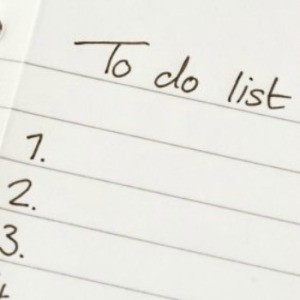 A numbered to do list on paper.