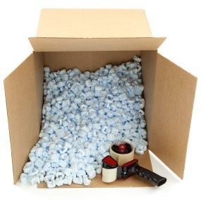 Environmentally Friendly Packaging Material, A box filled with packing peanuts.