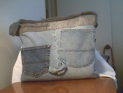 Photo of a laptop bag made with jeans.