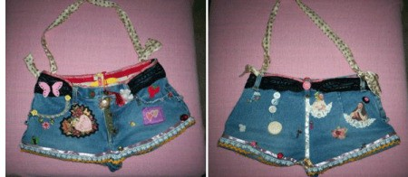 Pictures of purses made with jeans.
