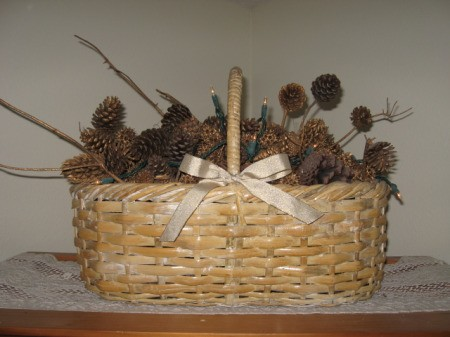 Basket with pinecones and twigs
