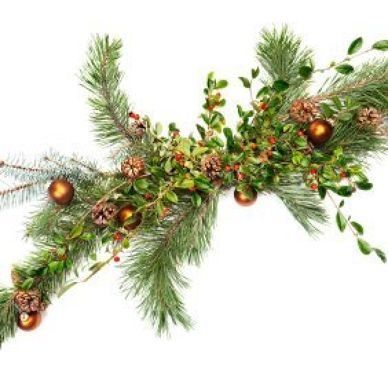 Evergreen garland with berries and glass Christmas ornaments.