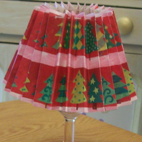 Recycled wrapping paper christmas lamps thriftyfun glass with lamp shade in place shade prominent aloadofball Gallery