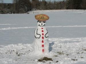 White Christmas Sombrero Snowman