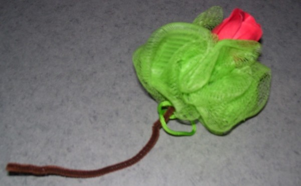Soap Rose on end of green loofah.