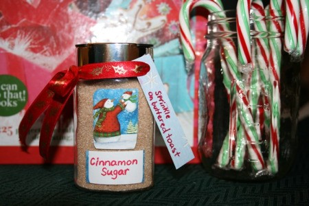 Homemade cinnamon sugar shaker jar with tag.