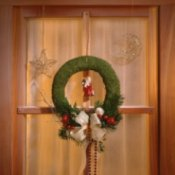 Homemade Christmas Window Decorations, Window decorated with Christmas wreath.