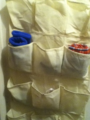 Shoe bag organizer for winter accessories.