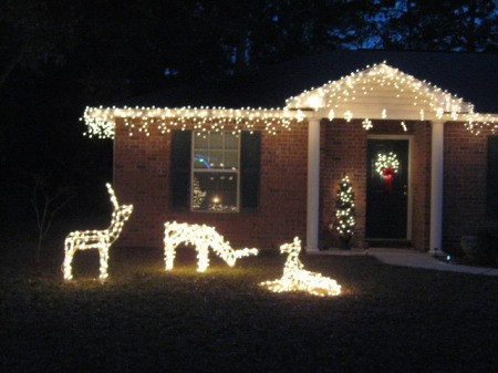 3 lighted deer in front of lighted house.