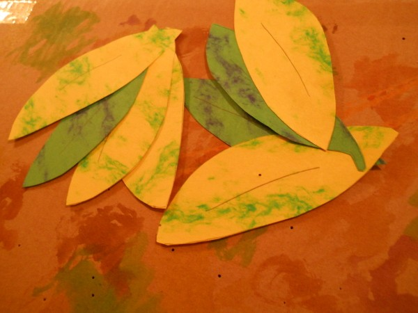 Construction paper leaves.