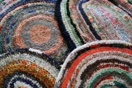 Photo of round rag rugs.