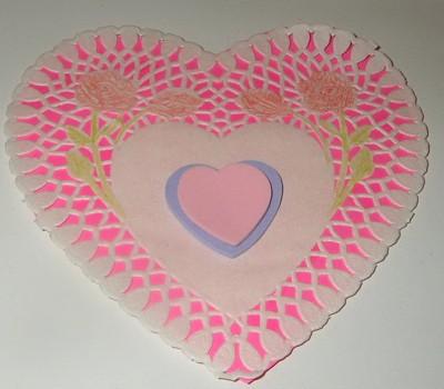 Doily heart Valentine's Day decoration.