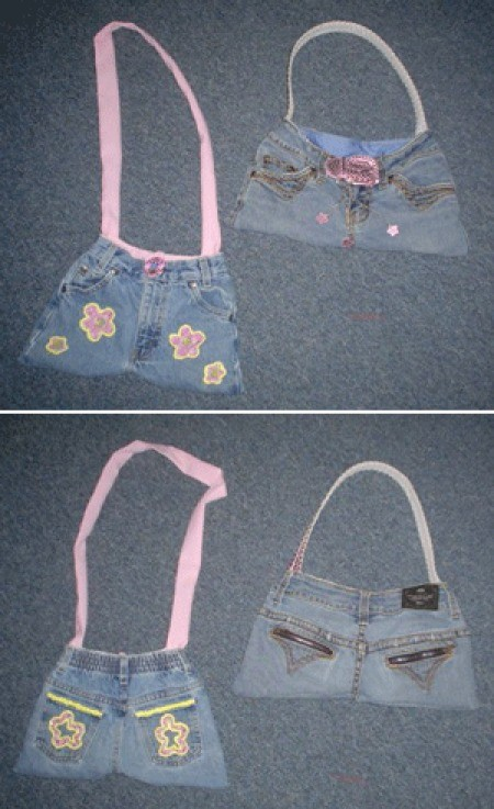 Photo of two cute purses made from jeans.